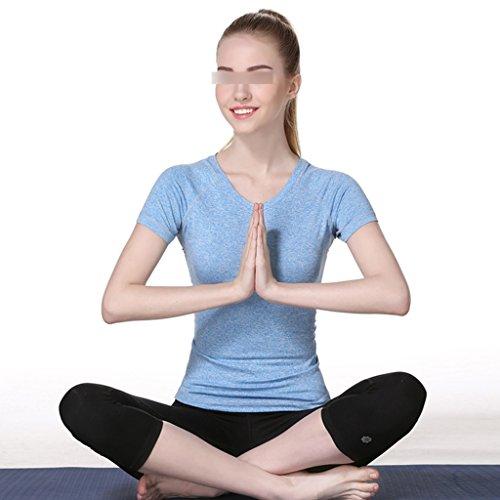 ZCJB Yoga Abbigliamento Manica Corta T-shirt Sportiva Estiva Femminile Asciugatura Rapida Elasticità Abbigliamento Sportivo Da Jogging Traspirante E Confortevole ( Colore : Blu , dimensioni : S. ) Blu