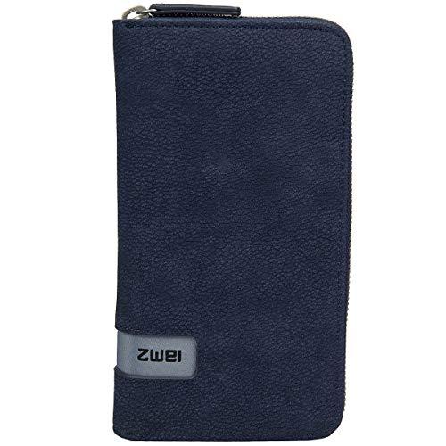 Zwei Wallet MW2 Reißverschluss Geldbörse Portemonnaie Geldbeutel Brieftasche, Farbe:Nubuk Blue