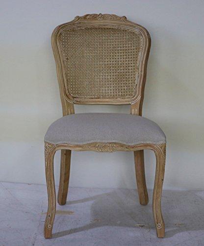 Maison chic sedia vienna classica in rovere naturale anticato e lino grigio, con schienale in paglia di vienna