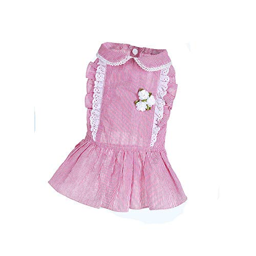 QLMS Puppy Dog Princess Dress Kleidung Sommerkleid Teddy Frühling und Herbst dünnen Abschnitt als Xiong Bomei Sommer Haustier Hochzeit Kleid Kleid (Color : Pink, Size : L)