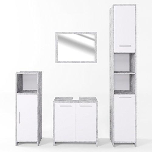 VICCO Badmöbel Set KIKO Weiß Hochglanz / Grau Beton - Badspiegel + Unterschrank + Bad Hochschrank + Bad Midischrank (Beton, Set 4)