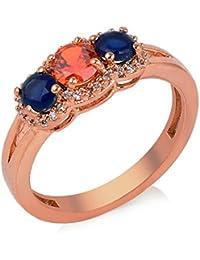 Florishkart Alloy Metal Multi Colour Stone Band Ring Wedding Ring For Girls & Womens