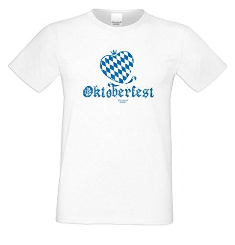 Wiesn T-Shirt statt Tracht & Dirndl - Oktoberfest Herz - Lustiges Spruchshirt mit Motiv als Geschenk zum Volksfest (Idee Herren Trachten)