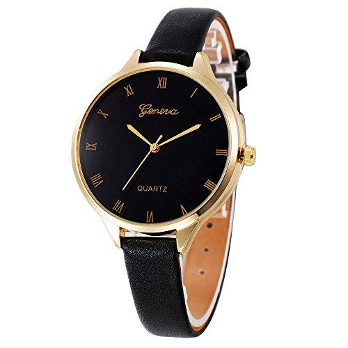 Armbanduhr Für Mädchen, OVERMAL Frauen Damen Mode Leder Quarz Armbanduhr Uhr (Schwarz #2)