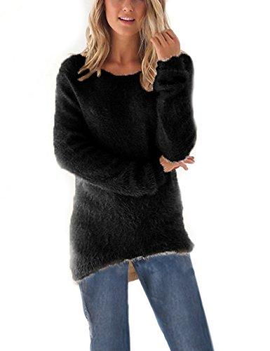 Donna Maglione Girocollo Manica Lunga Cardigan Camicetta Felpa Camicia a maglia Casuale Oversize (bk, m)