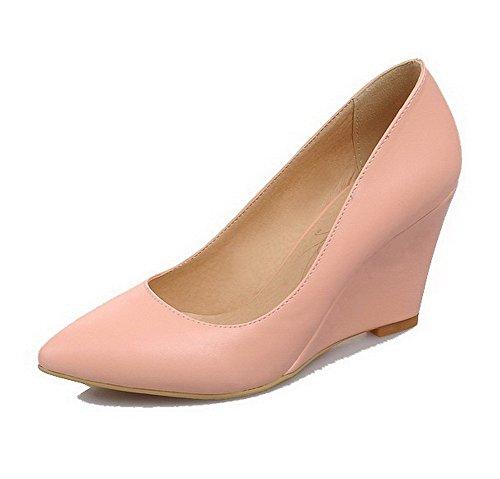 Damen Weiches Material Spitz Zehe Hoher Absatz Ziehen auf Rein Pumps Schuhe, Pink, 40 VogueZone009