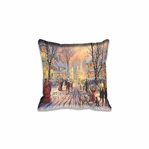 Decor Throw Pillowcases Custom Design Viktorianische Weihnachten Carol von Thomas Kinkade Kissen Reißverschluss, Standard Größe Urlaub Kissenbezug-50,8x 50,8cm Weihnachten Kissen Twin Seite Print (Viktorianische Kissen)
