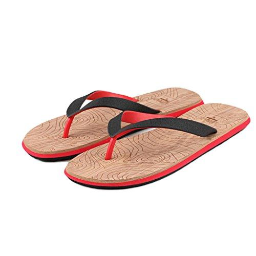 HCFKJ Hommes Chaussures De Plage Summer Tongs Chaussures Sandales MâLes Pantoufles Flip-Flops Rouge
