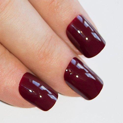 Art bling faux ongles manucure française Rouge Cherry Blossom 24 Conseils moyen UK