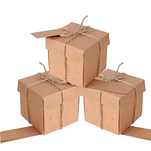 Qumao 100pz scatoline carta kraft etichette spago scatole bomboniere portaconfetti matrimonio feste battesimo laurea 5*5*5cm