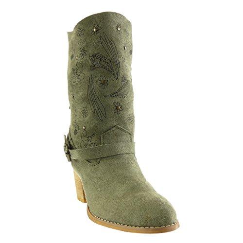 Angkorly - Scarpe da Moda Stivaletti - Scarponcini santiags - cowboy cavalier flessibile donna fiori tanga frange Tacco a blocco tacco alto 7 CM Verde