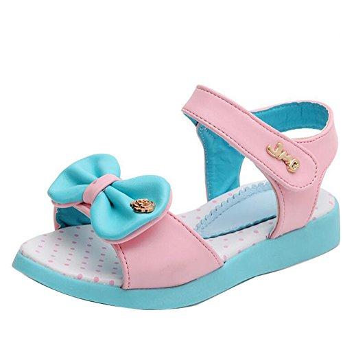 2017 Sommer Mädchen offene Sandalen mit Bowknot Knöchelriemen Blau Klettverschluss Blau