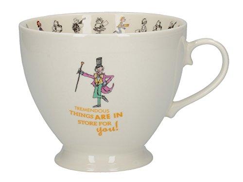 Creative Tops Roald Dahl-Beiner China Becher mit Quentin Blake Charlie und die Schokoladenfabrik Illustration, Porzellan, Weiß/Mehrfarbig, 13,5x 10,5x 8,5cm