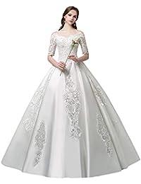 Vestido de novia, sin Tirantes, Manga del Hombro, Cola de satén, Gran