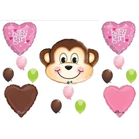 It's a Girl Monkey BABY Shower Balloons Decorations Supplies Jungle Safari by Anagram