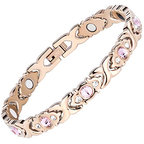 HaoY Damen-Magnetarmband, Vergoldeter 4-In-1-Magnetarmreif Aus Edelstahl, Diamantarmband Zur Schmerzlinderung Und Magnetfeldtherapie,Gold