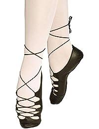 Roch Valley - Zapatillas de Danza de Cuero para Niña Negro Negro, Color Negro, Talla 35