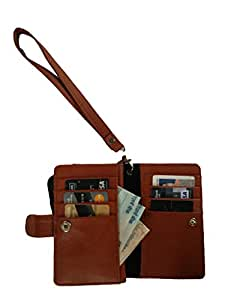 Generic Premium Leather Fabric Travel Holder Pouch for - Lenovo A328 - Brown - TLPLBR50#0903DR