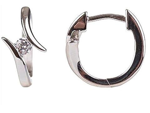 Unbespielt Schmuck Ohrschmuck Silber Ohrringe Silber 925 Creolen mit Zirkonia weiss für Damen 14 x 8 mm glänzend rhodiniert mit Klappschanier Stecker inklusive Schmuckbox