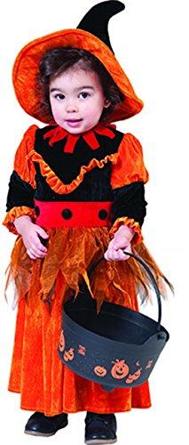 erdbeerclown- Kleiner Kürbis- Halloween Kinder Kleinkind Kostüm Kleid mit Hut- weich und warm, 98, 3 Jahre, Orange (Erdbeere Kleinkind-halloween-kostüm)