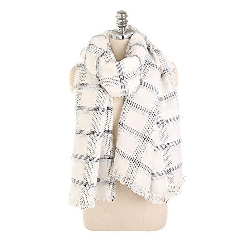 Fransen Warm Halten Bedruckten Wickelschal Leichte Weiche Schals Für Frauen Halstuch Schal Schal Schal Wickelschal Geringes Gewicht,Weiß_200 -