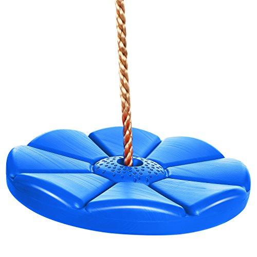 Acecoree Kinder Tellerschaukel Runde Kinderschaukel Swing Seat Garten Schaukel für Kinder Jugendliche mit Verstellnare Seil Indoor / Outdoor (Blau)