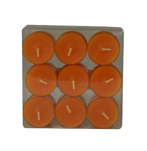 Wenzel-Kerzen 31-1522-18-23 Teelichte, Mandarin in Kunststoffhülle, ca. 4 h Brenndauer, Pack a 18 Stück