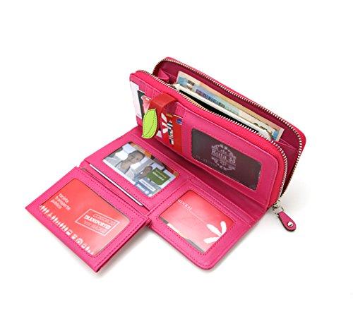 Menkai borsa del portafoglio motivo in rilievo lungo di disegno volto femminile 769W2 Beige PINK