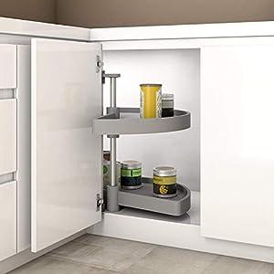Gedotec Halbkreis-Schwenkbeschlag Küche Drehbeschlag mit Tablarboden für Eckschrank | Drehteller für Unter-Schrank | 800 x 550 mm | MADE IN GERMANY | 1 Komplett-Set mit Schwenk-Böden aus Polyamid