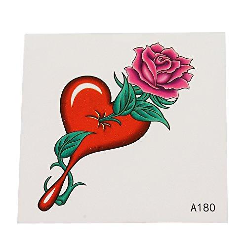 Preisvergleich Produktbild Klebetattoo temporär Rose pink Steil Blätter grün Herz Tropfen 1 Bogen