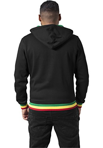 Urban Classics Herren Sweatjacke Hooded College Sweatjacket Black/Rasta