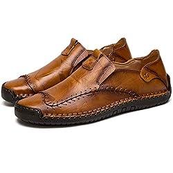 Hombre Cuero Mocasines Ligeros Casuales Conducción Barco Mocasines Zapatos Británicos Caballeros Comercio Trabajo Zapatillas