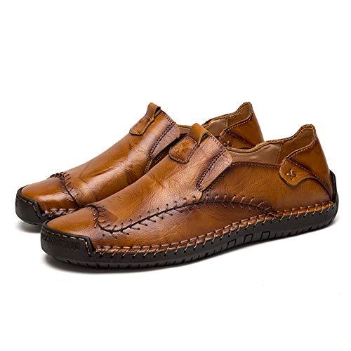 Scarpe Casual da Uomo Mocassini in Pelle Loafers Casuale Guida Moda Mocassino Basse Classic Scarpe da Cuoio Barca Oxford(Giallo,46 EU,28CM dal Tallone alla Punta