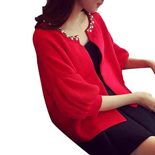 iHENGH Damen Herbst Winter Übergangs Warm Bequem Slim Mantel Lässig Stilvoll Frauen Langarm Solid Sweatshirt Pullover Tops Bluse ()