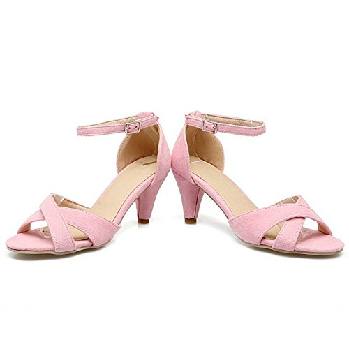 TAOFFEN Femmes Elegant Kitten-Heel Sandales Cross Strap Sangle De Cheville Chaussures Rose