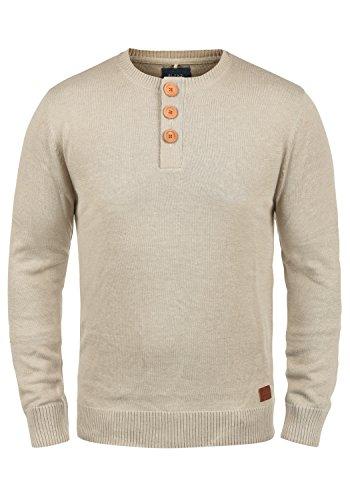 Blend Leonardo Herren Strickpullover Feinstrick Pullover Mit Rundhals Und Knopfleiste, Größe:S, Farbe:Sand Mix (70810)