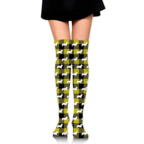 ouyjian Knee High Socks Corgi Buffalo Plaid Yellow Long Socks Boot Strumpf Kompressionssocken for Women -