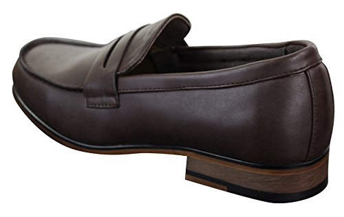 Mocassins homme Nubuck PU style vintage rétro classique noir marron bleu marine Marron