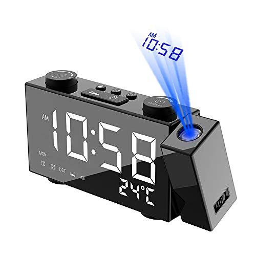 Decdeal - Radio Despertador Digital de 6 Pulgadas con proyección, 4 ajustes de Brillo/3 Indicadores...