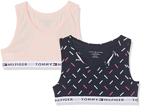 Tommy Hilfiger Girl's 2P Bralette Print Bustier, Multicoloured (Navy Blazer/Seashell Pink 436), 146 (Manufacturer Size: 10-12) pack of 2