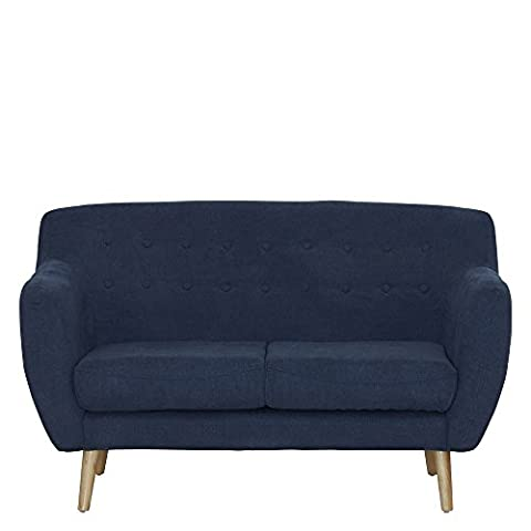 Sofa 2-sitzig Webstoff blau Lehne kapitoniert 142x85x88cm, SH 45cm - Modell Mont