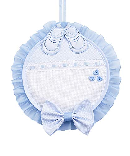 Fiocco nascita scarpette   con inserto in tela aida da ricamare   27 x 27 cm - azzurro