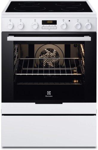 Electrolux EKC6670AOW Cuisinière Céramique A-20% Noir, Blanc four et cuisinière - Fours et cuisinières (Cuisinière, Noir, Blanc, boutons, Rotatif, Devant, Électronique, Céramique)
