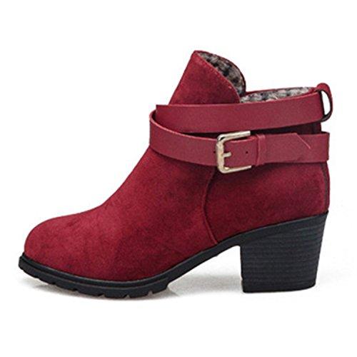 ZARU Señoras de tacón bajo las botas del tobillo de la hebilla de correa Martin botas nieve de las mujeres para el invierno ★cuero artificial★ (39, Rojo)