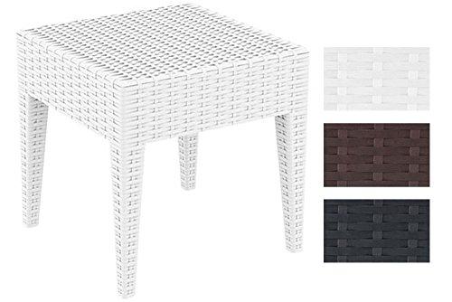 CLP Gartentisch MIAMI aus Polyrattan I Beistelltisch aus hochwertigem Kunststoffgeflecht I Stapelbarer Tisch in Rattan-Optik I In verschiedenen Farben und Größen erhältlich Weiß, 45 x 45 cm