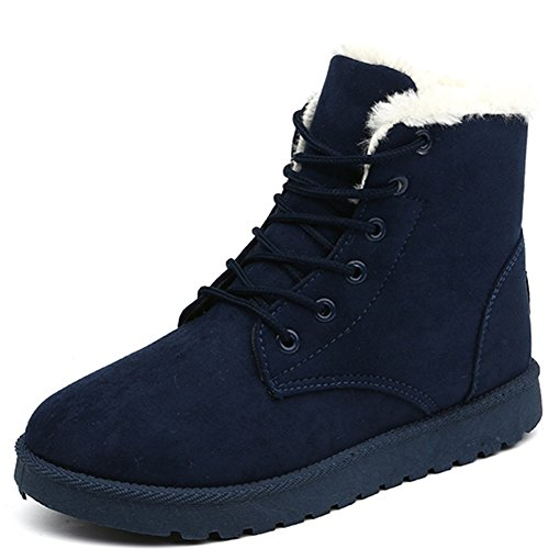 SAGUARO® Women Winter Ankle Boot Lined Snow Boots Ladies Lace Up Flat...