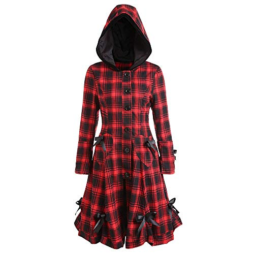 (FRAUIT Kapuzen Trenchcoat Jacke Damen Steampunk Gothic Lace Up Blazer Plaid Outwear Herbst Winter Midikleid Frauen Mädchen Strickkleid Winterkleider Sweatkleid Strickkleider Stricksweat)