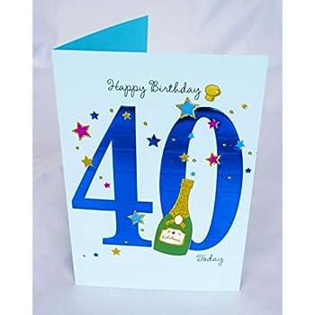 Happy 40th Birthday Card For Him Mens Male Blue Verse Poem Luxury