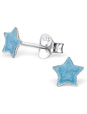 JAYARE Kinder-Ohrstecker Sterne 925 Sterling Silber Emaille 6 x 6 mm hell-blau Ohrringe