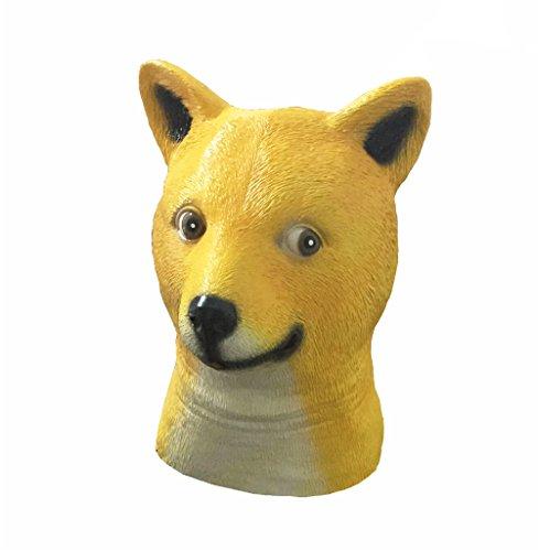 Maschera divertente Doge Cane in lattice Testa di animale copricapo per costume di Halloween del partito del vestito operato